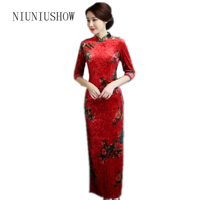 a8a23d6923af Autumn New Chinese Style Dress Women Long Velour Qipao Mandarin Collar  Handmade Button Half Sleeve Cheongsam M-3XL
