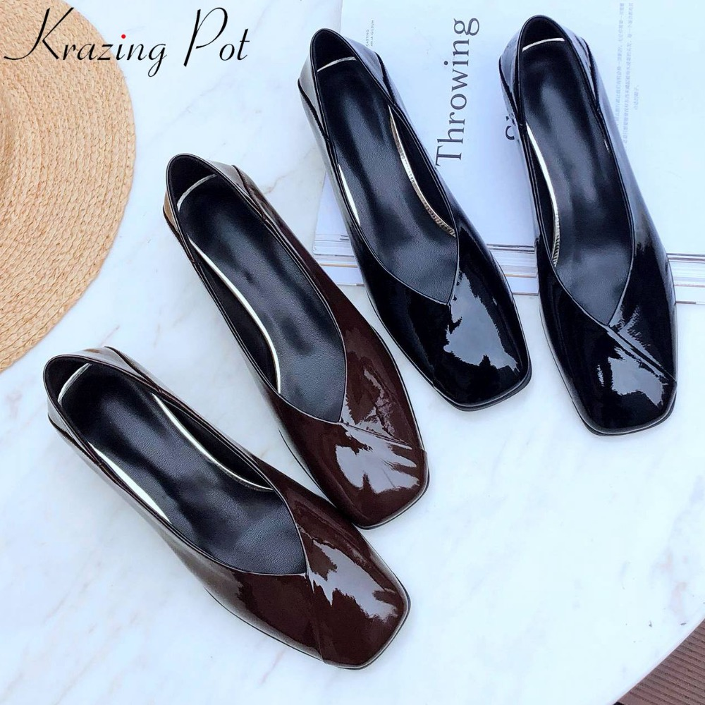European superstars natural leather vintage design square toe chunky med heels slip on office lady clubwear gorgeous shoes L67