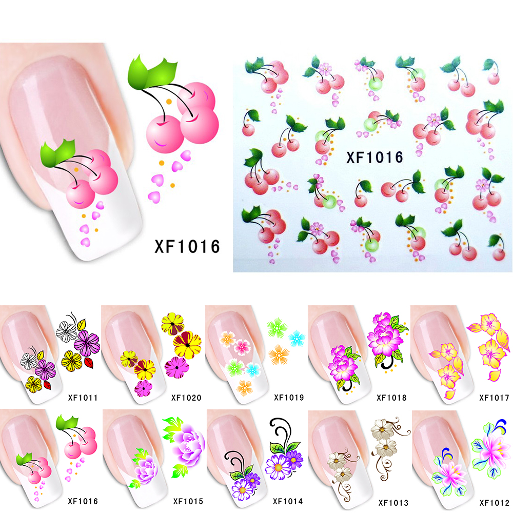New 10 styles Mixed Flower Pattern Watermark Nail Art Stickers Wraps Water Transfer Tips Decals Beauty Temporary Tattoos Tools 06 39 mixed styles nails tips polish printing beauty decals multipurpose nail art hollow template stickers makeup stencil tool