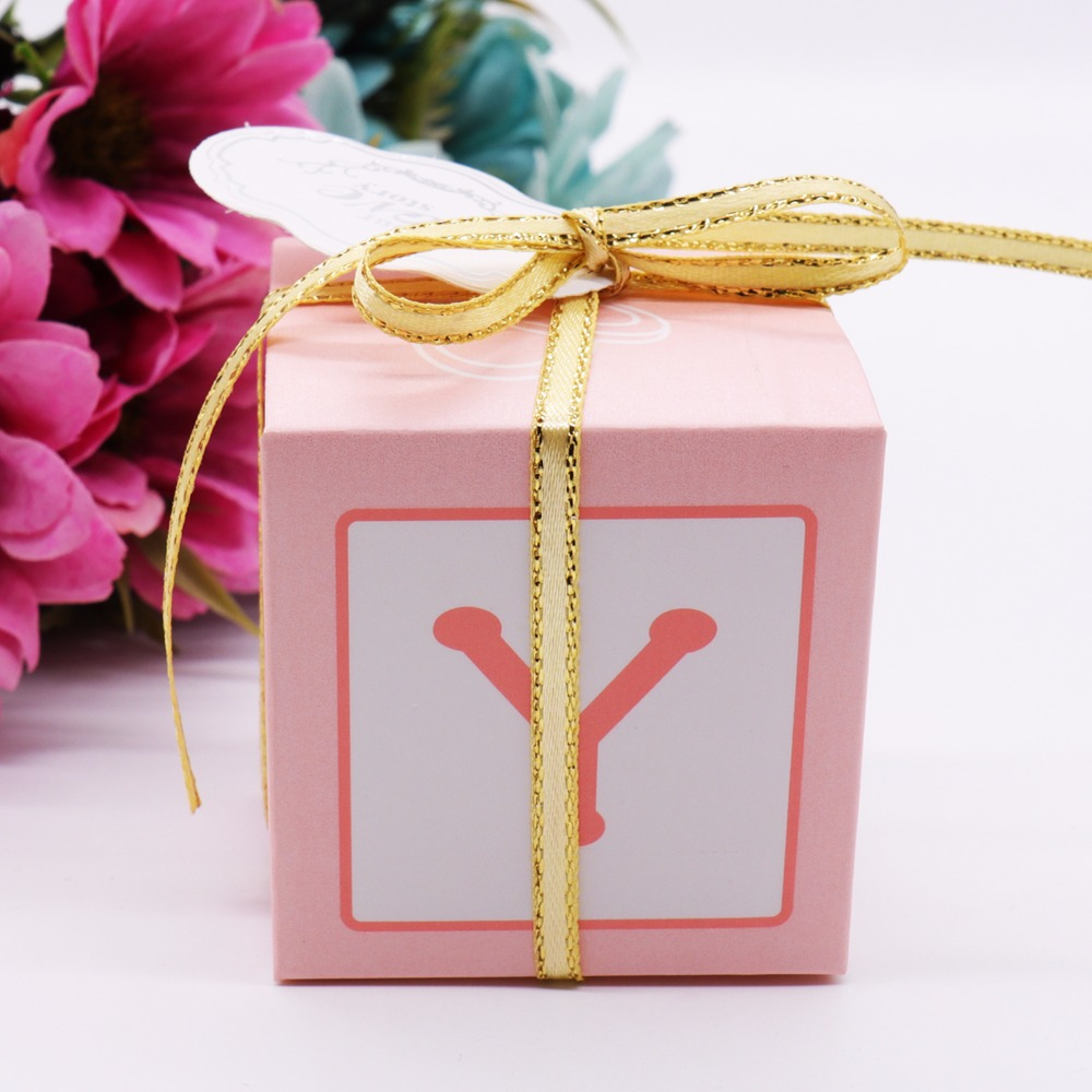 50Pcs/lot Paper Candy Box Letter Decoration With Ribbons For Wedding ...