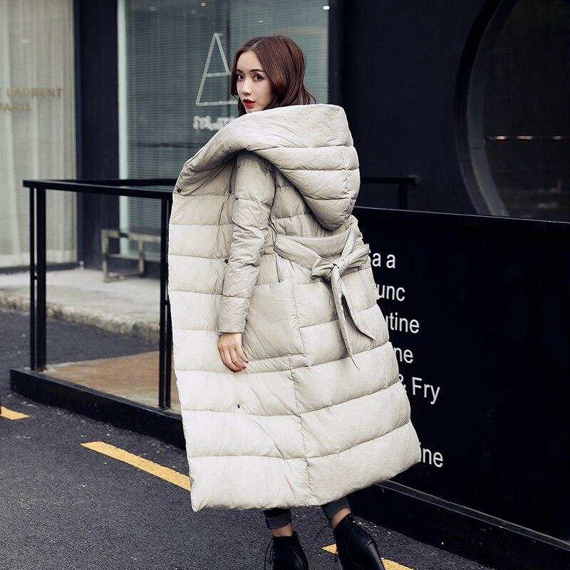 women winter coat 2017 manteau femme hiver belt long korean cotton thick slim coat casual winter