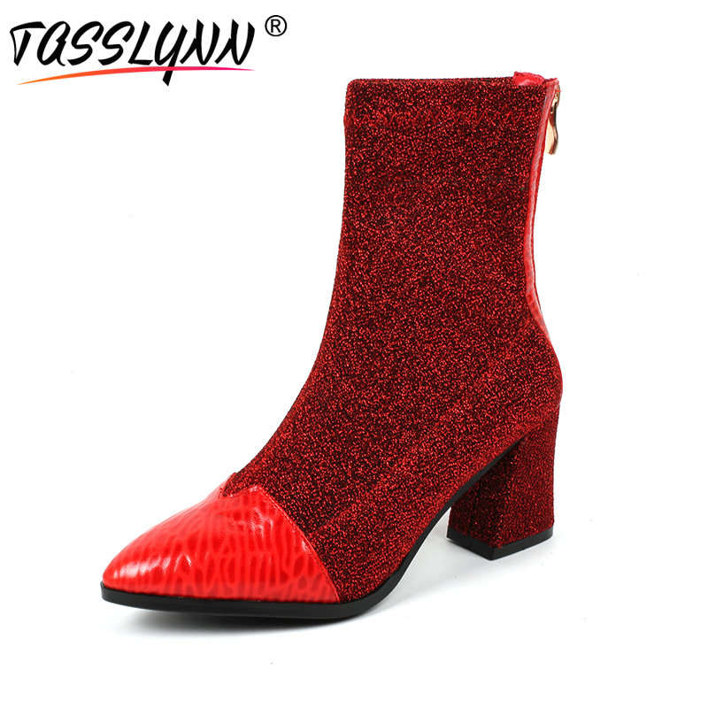 TASSLYNN 2018 Women Boots Stretch Fabric/sheepskin Autumn Shoes Women Mid Calf Boots Pointed Toe Square Heels Party Shoes Size39 2015 autumn shiny piece fight color stretch fabric square head women s boots flat boots in europe and america tide personality