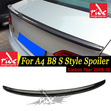 For Audi A4 A4A A4Q Spoiler B8 S4 Style Carbon Fiber rear spoiler Rear trunk Lid Boot Lip wing car styling Decoration 2009-2012
