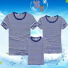 New Summer Style Family Clothing Dad Mom Child T-Shirt Casual Stripe Fashion A of Three Holiday Cool Tops