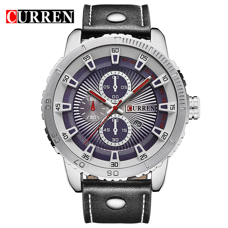 Prix pour Curren marque de luxe montre à quartz Occasionnel De Mode En Cuir montres reloj masculino hommes montre livraison gratuite Montres de Sport 8206