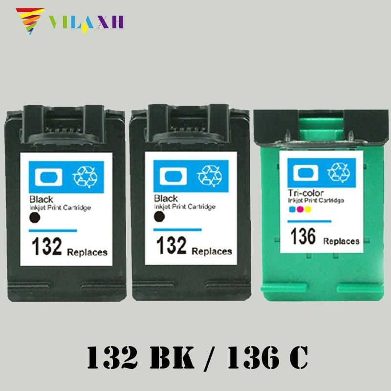 Vilaxh 132 136 kompatibel blekkpatronersett for HP 132 136 for Photosmart 2573 C3183 1513 Officejet 6213 D4163 skriver