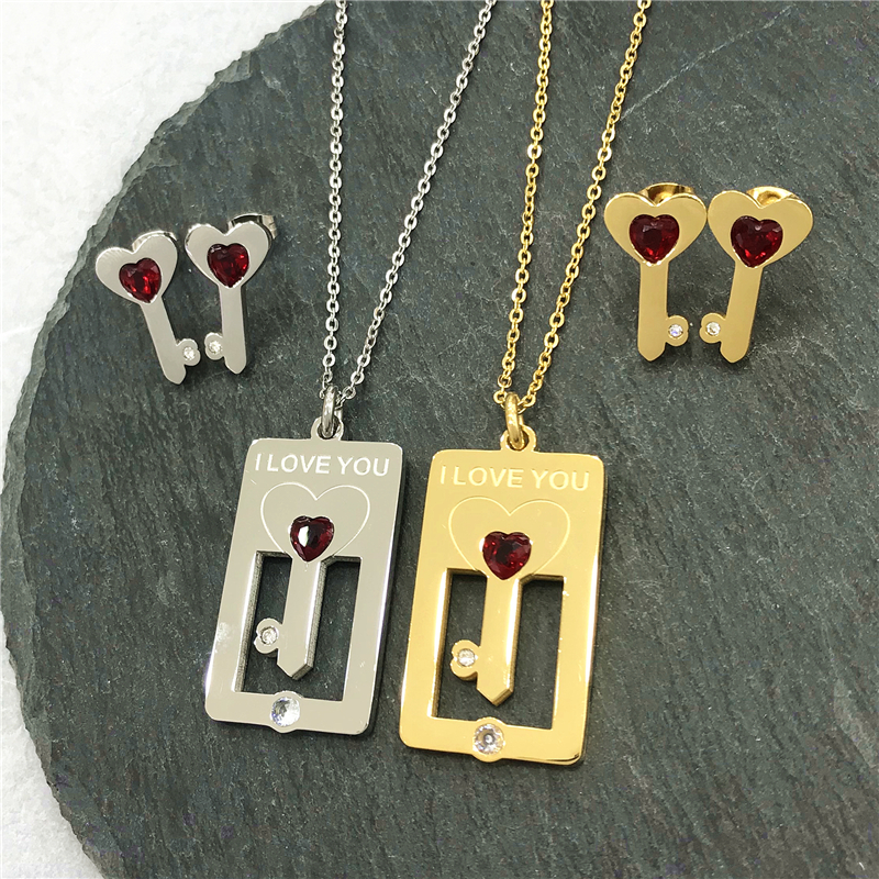 Earring Necklace Jewelry Stainless-Steel-Sets Heart-Pendant Engagement Women Key