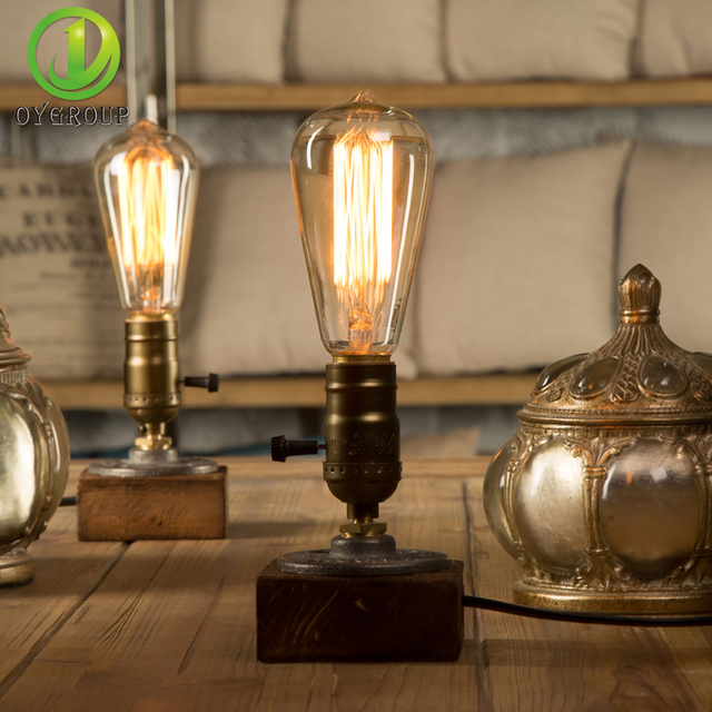 Wooden Table Lights Vintage Desk Lamp Dimmer Switch E26e27 40w