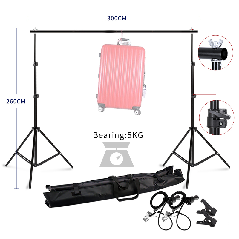 Background Stand Support System 2.6M x 3M/8.5ft x 10ft Kit with Carrying Case for Muslins Backdrops,Paper and Canvas Support dhl free 10ft x 6 5ft background holder 3m x 2m adjustable muslin background backdrop support system stand kit carrying bag