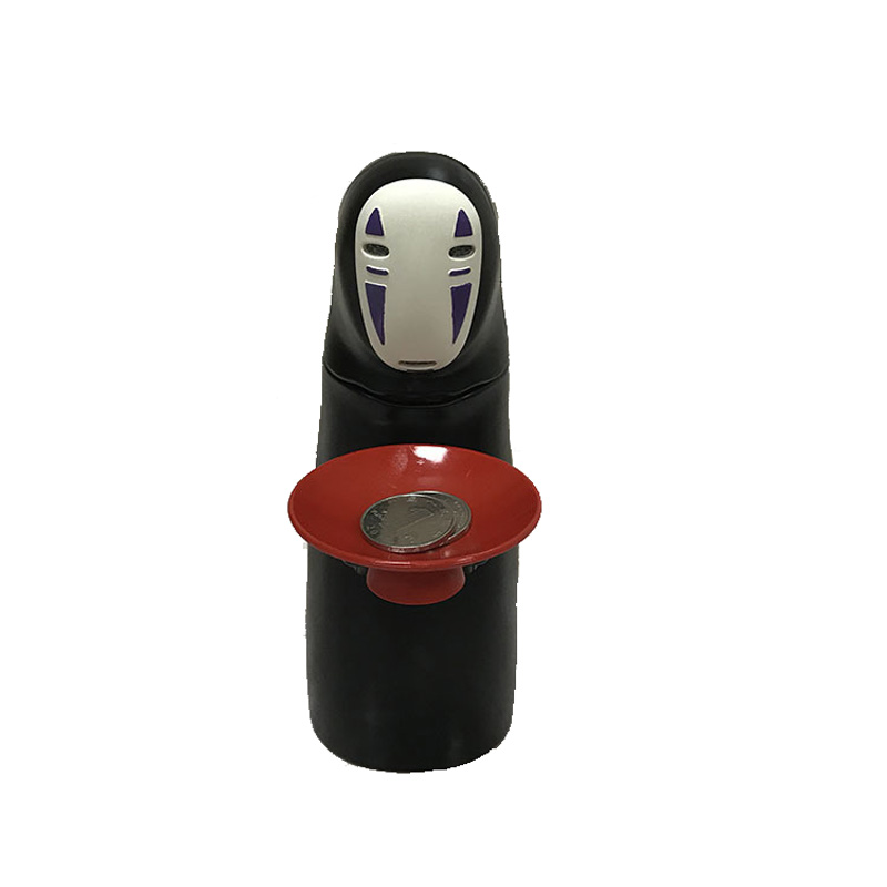 Original Studio Ghibli Spirited Away No Face Man Action Figure Coin Bank Piggy Automatic Eaten Swallow Money Saving Box Hiccups no face male piggy bank hiccup sound money coin storage container bins kids toys funny gadgets anime action figure 3 styles