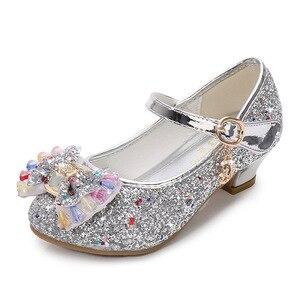 Image 5 - ילדי נסיכת נעלי בנות מפלגה עקב גבוהה סנדלי אופנה פרח ילדי גליטר עור נעלי פרפר קשר שמלת חתונה