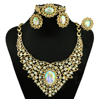 Gold stone jewelry sets for ladies Nigeria wedding jewelry india jewellery African beads jewelry sets for women