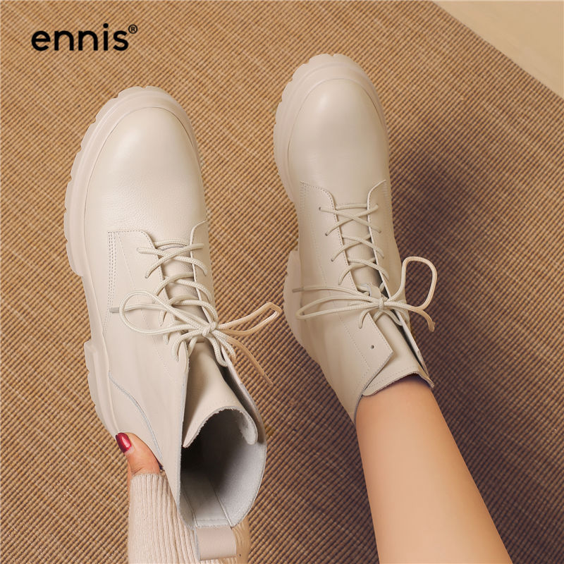 اينيس 2019 مارتن الشتاء أحذية النساء جلد طبيعي حذاء من الجلد منصة كعب الدانتيل يصل الأحذية المسطحة الشتاء أحذية أسود بيج A8196-في أحذية الكاحل من أحذية على  مجموعة 3