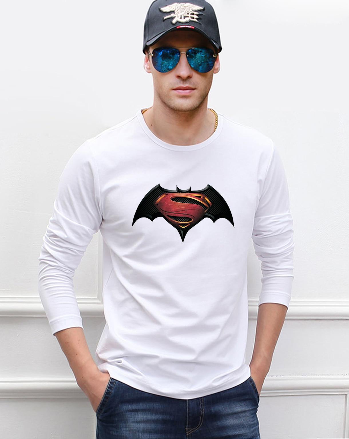 2019 Summer Batman Men Long Sleeve T Shirt 100% Cotton Fashion Superman T-Shirt Top Casual Jersey Crossfit Camisa Masculina