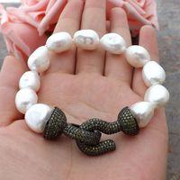 GE060113 8'' White Baroque Pearl Bracelet CZ Clasp