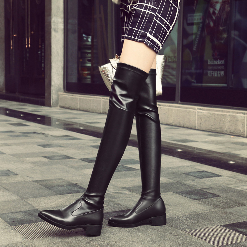 ALLBITEFO plush size:33-42 genuine leather Stretch material pointed toe over the knee boots thick heel women boots girls boots цена 2017