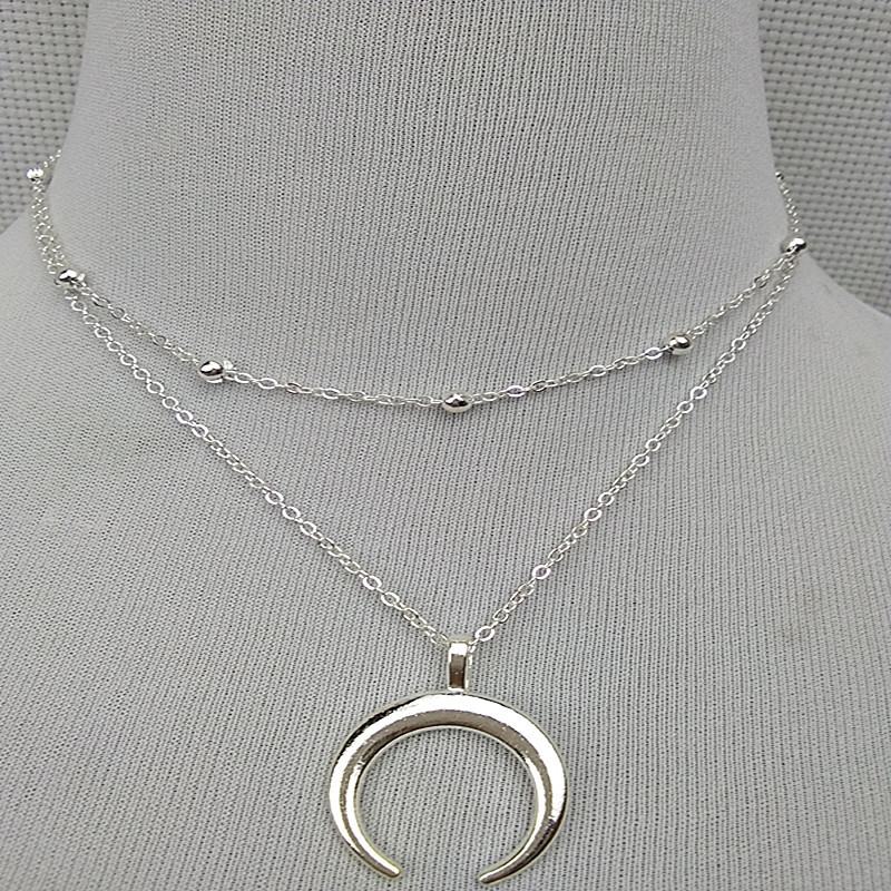 Double Horn Necklace Crescent Moon Charm Pendant Gold//Silver Chain Jewelry