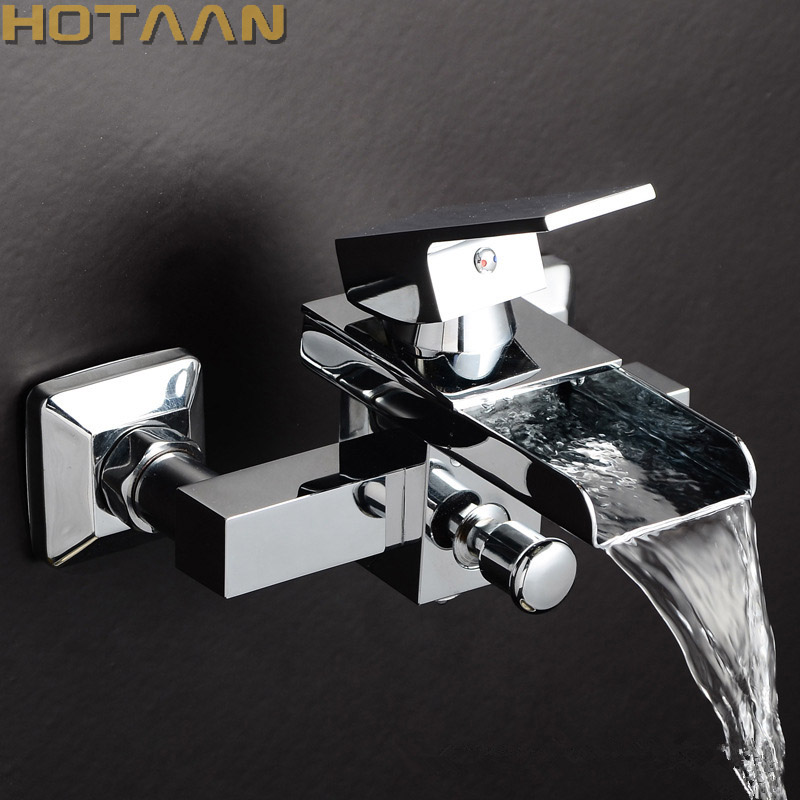 Free shipping Polished Chrome Finish New Wall Mounted Waterfall Bathroom Bathtub Handheld Shower Tap Bathtub Mixer Faucet YT5319 thermostatic bathroom shower faucet solid brass bathtub mixer tap chrome finish wall mounted
