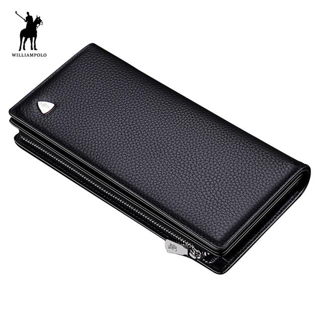 Luxury Brand WilliamPOLO 2017 Men Coin Purse Bolsa Feminina Zipper Wallet Solid Card Holder Purses Coin Holder Brown POLO128