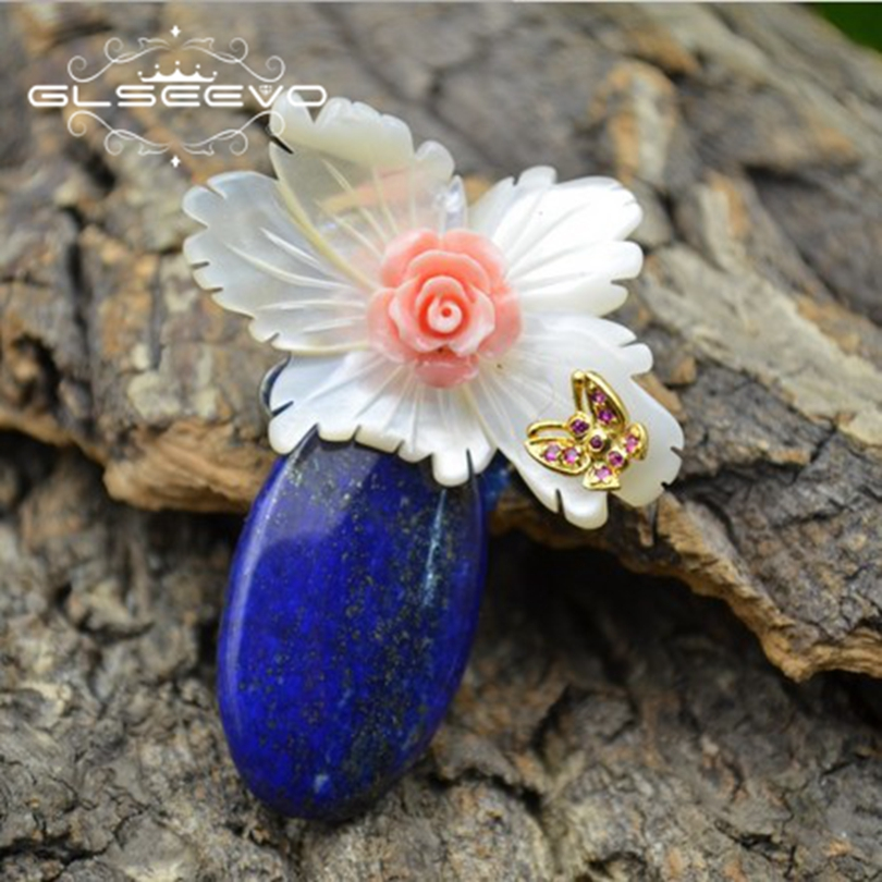GLSEEVO Natural Mother Of Pearl Flower Butterfly Brooch Pins Lapis Lazuli Brooches For Women Dual Use Luxury Fine Jewelry GO0279 glseevo natural lapis lazuli flower brooch pins and brooches for women accessories birthday gifts dual use luxury jewelry go0183