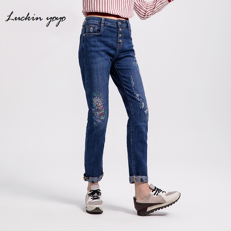 Bottoms Luckin Yoyo Women Printed Colorful Boyfriend Jeans Plus Size Jeans For Women Mid Waist Denim Casual Full Length Harem Pants
