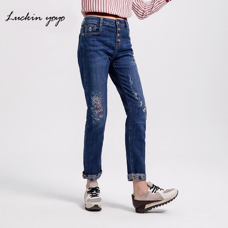 Luckin yoyo Women Printed Colorful Boyfriend   Jeans   Plus Size   Jeans   for Women Mid Waist Denim Casual Full Length Harem Pants