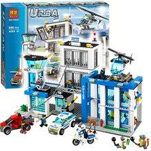 Бела 10424 городской полицейский участок мотоцикл вертолет Building Block наборы Совместимость с Legoing City 60047 дети игрушечные лошадки кирпичи