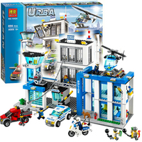 Bela 10424 City Police Station Motorbike Helicopter Building Block kits compatible with Legoing City 60047 Kids Toys Bricks
