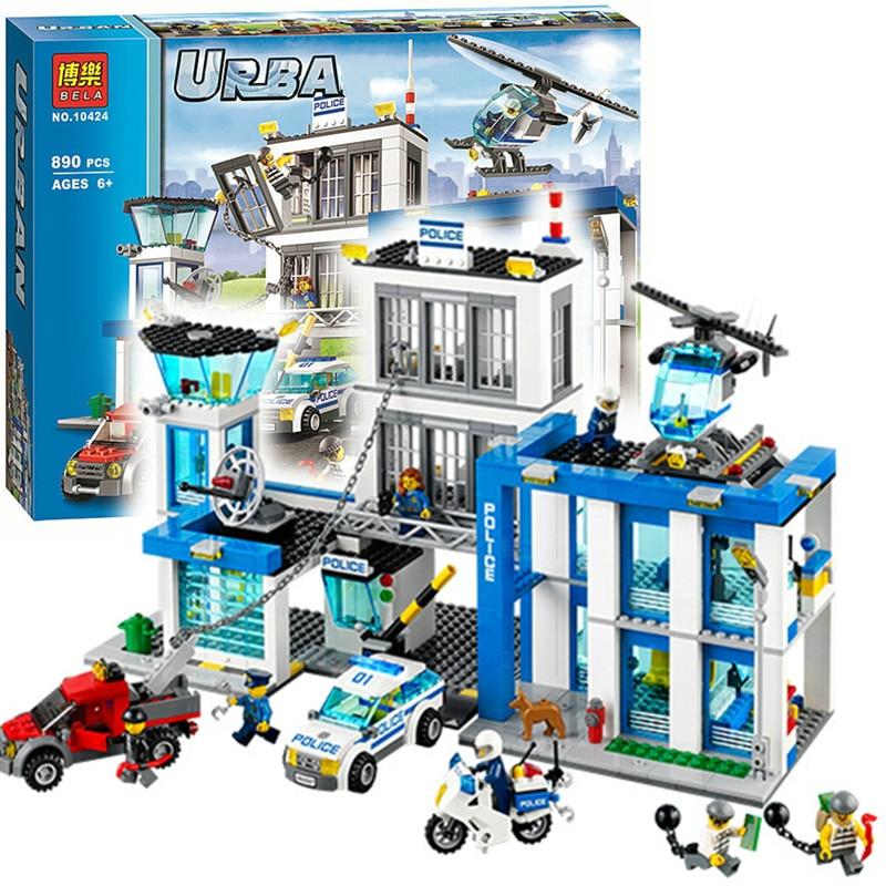 Bela 10424 Ville Police Station Moto Hélicoptère Building Block kits compatible avec Legoing Ville 60047 jouets pour enfants Briques