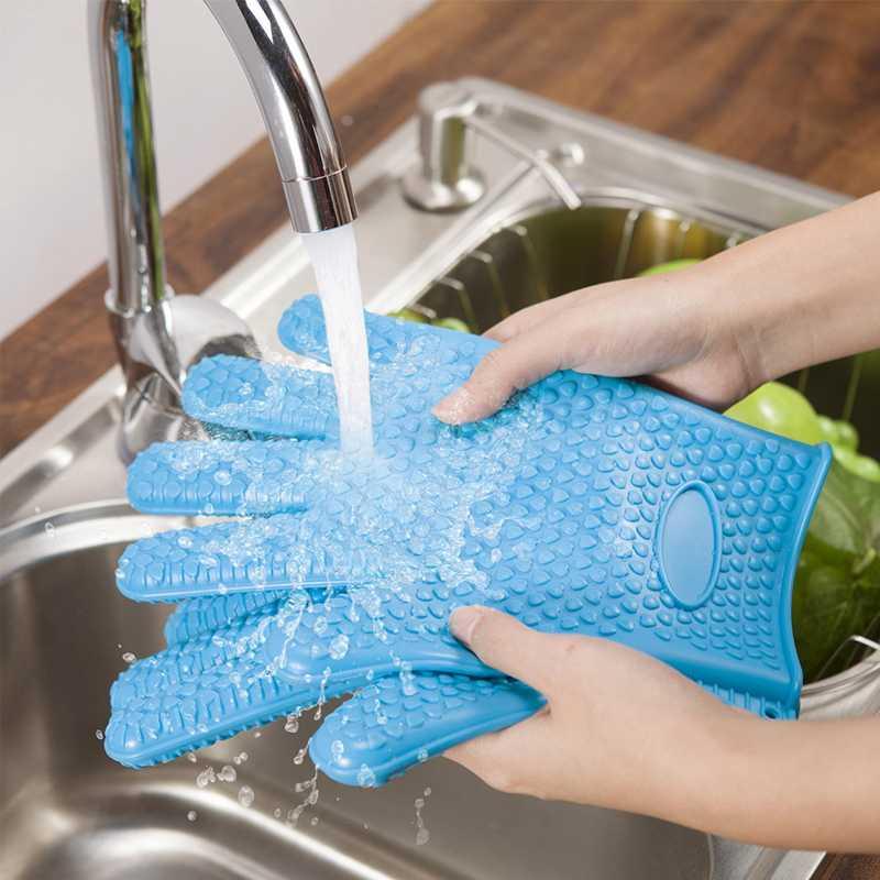 Kitchen Glove Heat Resistant Silicone Kitchen barbecue Heat Insulation Gloves pot pan Oven mittens Cooking BBQ Glove Oven Mitt