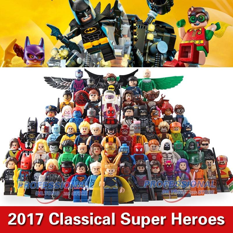 DR,TONG 64pcs/lot Marvel DC Mini Super Heroes Action Figures Building Blocks Batman Harley Quinn Hulk Deadpool Iron Man Toys