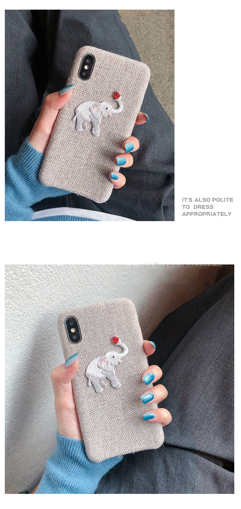 Cute Embroidered Elephant Phone Case For iPhone - Photo 3