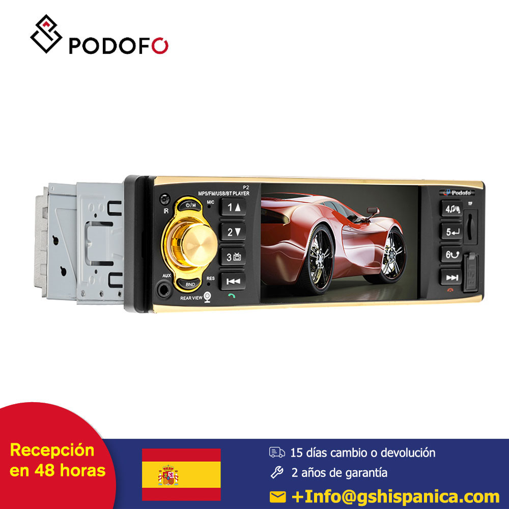 Podofo 1 din 4'' HD Car radio Support Bluetooth Autoradio Rear View Camera with Steering Wheel Control image