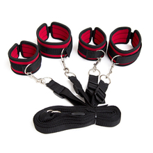 Hand Cuffs & Ankle Cuffs Set Sex Products Sex Toys For Couples Sexy Games Restraint Nylon Velvet  Tied Tease Under Bed Bondage