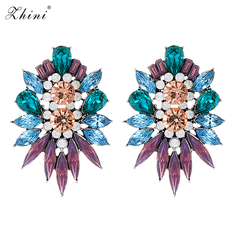 Fashion Color Crystal Stud Earrings Statement Vintage Rhinestone Big Maxi Elegant Flower Earrings For Women Jewelry Wholesale