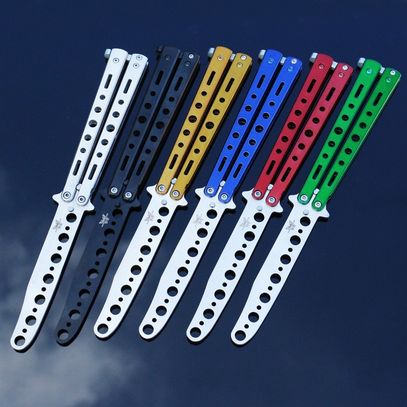 Cool Black Metal Practice Butterfly Knife Balisong Trainer Training Folding Knife Dull Tool outdoor camping cs go