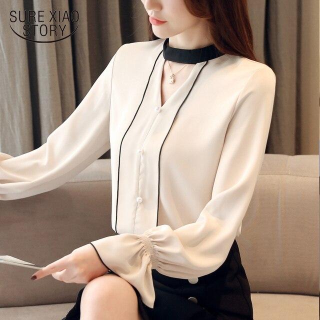 2f23de4cfae99e 2018 New Autumn Fashion women blouse work wear chiffon shirt Korean style  clothes black and white elegant women top 1352 40