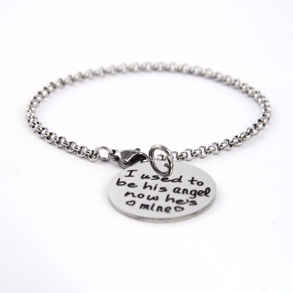 US $4 99  Message Charm chain link bracelet I usd to be his angel now hes  mine personalized bracelet Dad bracelet love father-in Chain & Link