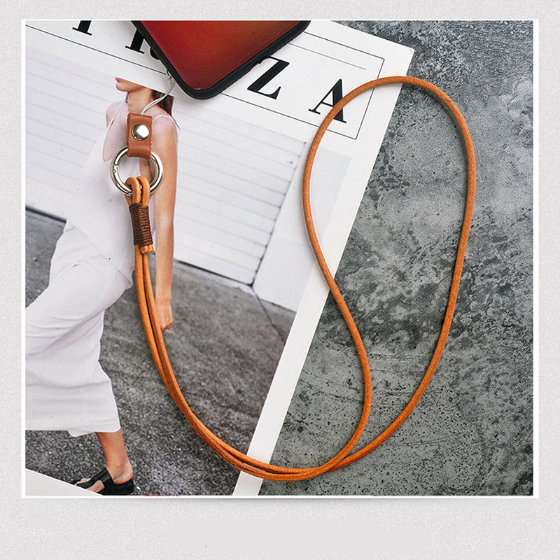 Lanyards For Keys Multi-function Genuine Leather Mobile Phone Straps ID Card Keychain Lanyard Wrist Neck Strap ID Card Gym Rope