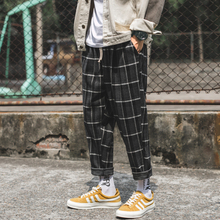Mens Flax Pants 2018 Autumn Winter Korean Loose Man Leisure Youth Fashion Harlan Pants Lattice