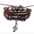Fashion Jewelry Notes Bracelet Three Star Style Woven Leather Bracelet
