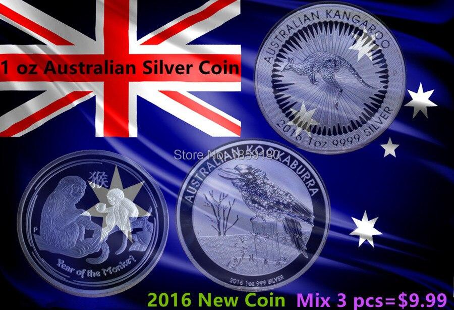 1b9827d63 Envío libre 30 unids/lote, mix-2016 moneda, Australia 1 oz moneda de plata,  canguro, mono, kookaburra