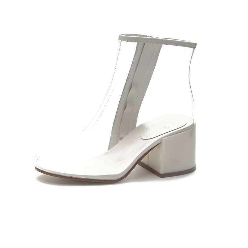 Sonbahar Kış PVC Şeffaf Kadın Ayakkabı Kadın yarım çizmeler Yüksek Topuklu Sivri Burun Moda Bayan Çizme Artı boyutu 32-43