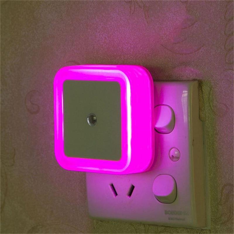 Image 4 - Mini LED Night Light Sensor Control EU /US /UK Plug Square Bedroom Wall Lamp For Baby Child Gift Romantic Colorful Lights Decor-in LED Night Lights from Lights & Lighting