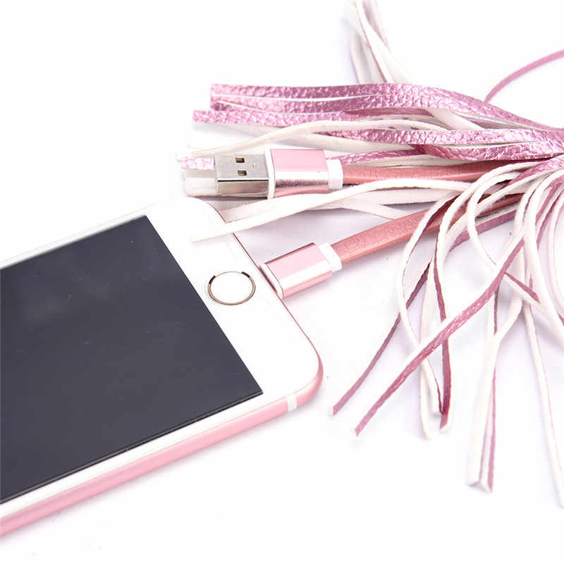 Mini Cavo USB Fast Charger Portachiavi In Metallo Creativo USB Cavo In Pelle Nappa Portachiavi Cavo di Dati del Cavo Adattatore di Ricarica Per IPhone