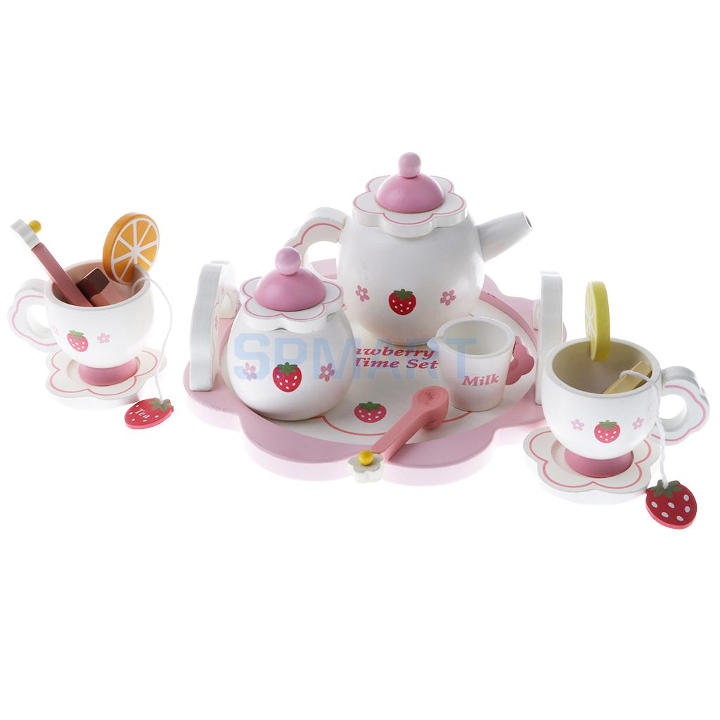 Miniature Dollhouse Wooden Strawberry Themed Afternoon Tea Set Food Kitchen Pretend Play Set