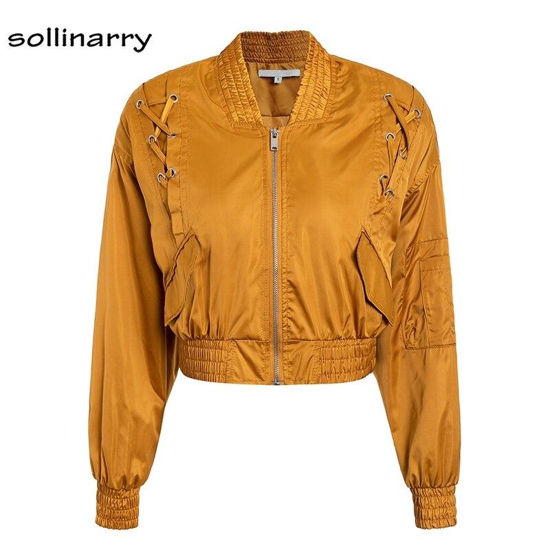 Sollinarry Satin   Basic     Jacket   Women Long Sleeve Lace up Windbreaker Biker   Jacket   2018 Autumn Winter Bomber   Jacket   Chaqueta Mujer