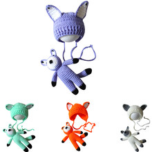 2019 New Crochet Knitted Wool Animal Vivid Cartoon Hat Toys Newborn Baby Boy Girl Photography Props Set(China)