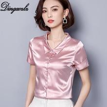 2684f8770d Dingaozlz Neue mode Frauen Shirt einfarbig Sommer Tops kurzarm Büro dame  Seide hemd Plus größe bluse