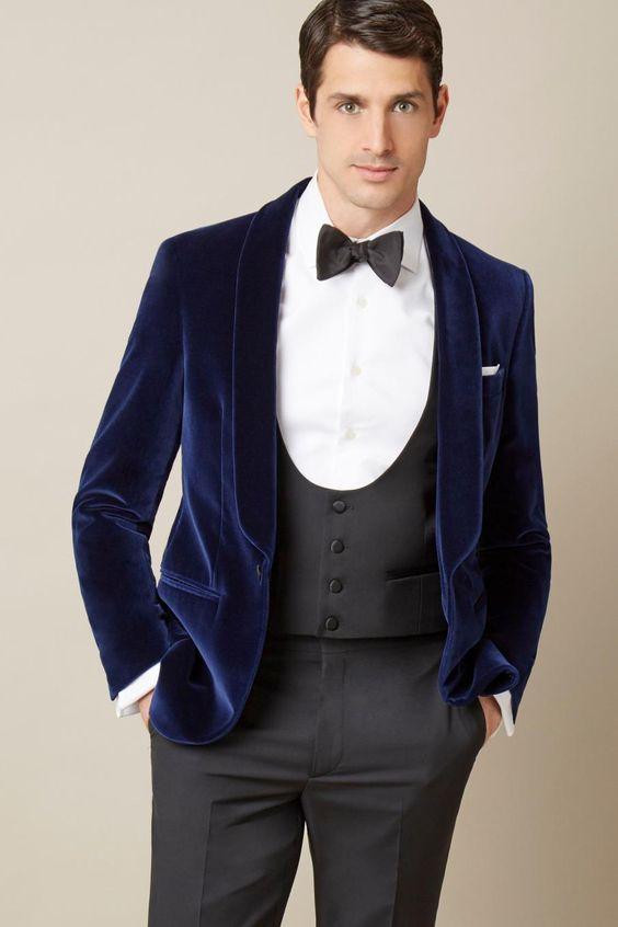 Latest Coat Pant Designs Navy Blue Velvet Blazer Gray Groom Tuxedos 3 Piece Mens Wedding Prom Party Suits Groomsman Suit Terno
